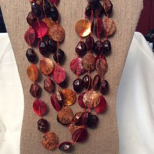 Shades of Orange & Brown Multi-strand Necklace